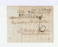 Sur Lettre En Cursive Département De La Vienne. Tampon 80 Poitiers. Marque Postale. (744) - Marcophilie (Lettres)