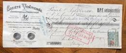 CAMBIALE 2 F. SOCIETE' VENTITIENNE PARIS  1921  CON MARCA DA BOLLO E FIRME AUTOGRAFE - Documentos Históricos