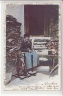 FILEUSE ET FUMEUSE VALAISANNE - DOS UNIQUE - 1911 - RARE CARTE POSTALE - VS Valais