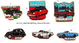 Automobile_Peugeot_202-203-205-404-504-605_1 Pin's Aux Choix Signé Hélium - Peugeot