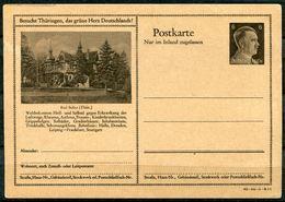 """German Empires 1942 Kopfbild A.Hitler GS Mi.Nr.P307/42-16-1-B1""""Besucht Thüringen,das Gr.Herz Deutschland.-Bad Sulza""""1 GS - Enteros Postales"""