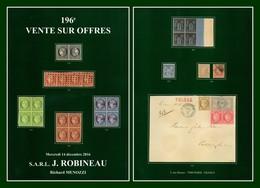 Catalogue 196éme Vente Sur Offres Robineau 2016 TB (comme Neuf) - Catalogues De Maisons De Vente