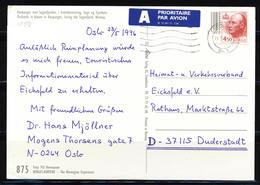 Norwegen 1995, MiNr. 1197 (Freimarken: König Harald V.) Auf Postkarte Nach Deutschland; B-35 - Norwegen