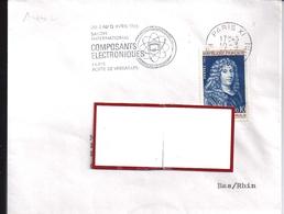 YT1442  SSL FR  OBL PARIS XI  AU TARIF 10/3/65  FL SALON INT COMP. ELECT.AVRIL1965 - Marcophilie (Lettres)