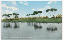 AFRICA,SUDAN,   A VILLAGE SHAMBE, WHITE NILE  Vintage Old Postcard - Sudan