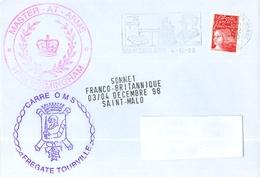 MARCOPHILIE - FREGATE TOURVILLE CARRE O M S. SOMMET FRANCO-BRITANNIQUE 03/04 12 98 SAINT - MALO - Marcophilie (Lettres)