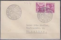 Schweiz Suisse 1944: Kehrdruck Tête-bêche K33Ay (Chillon) Kleinbrief Mit O TAG DER BRIEFMARKE WINTERTHUR 3.XII.44 - Tag Der Briefmarke