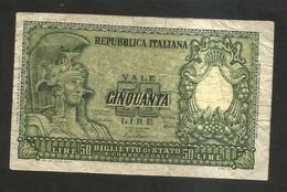 REPUBBLICA ITALIANA - 50 Lire ITALIA ELMATA - ( Firme: Di Cristina / Cavallaro / Parisi - Decr: 31-12-1951 ) - 50 Lire