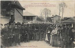 87 LIMOGES GREVES 1905 20 USINE BEAULIEU LES GENDARMES - Limoges