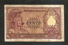 REPUBBLICA ITALIANA - 100 Lire ITALIA ELMATA - (Firme: Bolaffi / Cavallaro / Giovinco - Decr: 31-12-1951) - [ 2] 1946-… : Repubblica