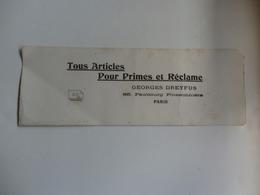 """Buvard """"Tous Articles Pour Primes Et Réclame"""" Georges Dreyfus 65, Faubourg Poissonnière Paris. - Buvards, Protège-cahiers Illustrés"""