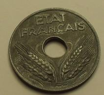1943 - France - 20 CENTIMES, Etat Français, En Zinc, Type 20, Lourde, KM 900.1, Gad 321 - France