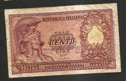REPUBBLICA ITALIANA - 100 Lire ITALIA ELMATA - ( Firme: Di Cristina / Cavallaro / Parisi - Decr: 31-12-1951 ) - [ 2] 1946-… : Repubblica