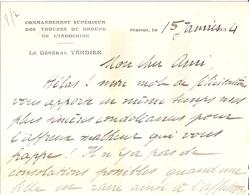 COMMANDEMENT SUPERIEUR DES TROUPES DU GROUPE DE L'INDOCHINE-HANOI-Gal VERDIER-1934- CARTE - Documents
