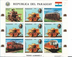 PARAGUAY 1986, RAILWAYS, LOCOMOTIVES, GERMAN RAILWAYS, FULL SHEET MNH - Paraguay