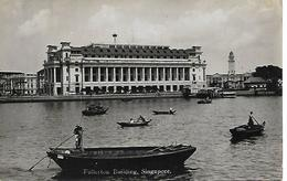 Real Photo Postcard, China, Singapore, Fullerton Building, Boats, River Landscape. 1936. - Singapore