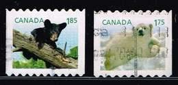 Kanada 2011/13, Michel# 2685 + 2930 O Polar Bear (Ursus Maritimus)/ American Black Bear (Ursus Americanus) - 1952-.... Reign Of Elizabeth II