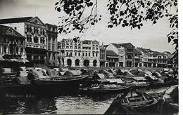 Real Photo Postcard, China, Singapore River, Boats, Buildings, Shops. 1936. - Singapore