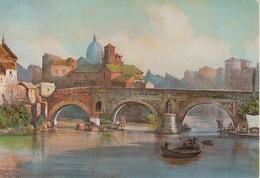 """Serie """"Roma Sparita"""" - Acquerello Ettore Roesler Franz -Ponte Rotto - Illustratori & Fotografie"""