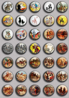 Don Quijote Fan ART BADGE BUTTON PIN SET 2 (1inch/25mm Diameter) 35 DIFF - Celebrities