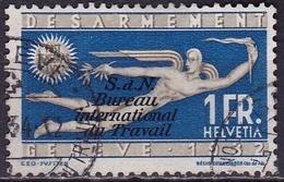 Switzerland / Schweiz / Suisse: 1932 Sondermarke 1 Fr. Blau / Grau Mit Aufdruck B.I.d.T. Michel BIT / ILO D 37 - Dienstzegels