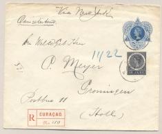 Curacao - 1911 - 12,5 Cent Wilhelmina, Envelop G5 + 10 Cent Aangetekend Met Vroege Datum VBD Van Curacao Naar Groningen - Curaçao, Nederlandse Antillen, Aruba