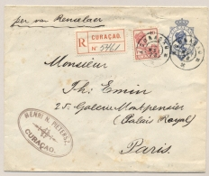Curacao - 1928 - 12,5 Cent Wilhelmina, Envelop G13 + 10 Cent Registered Van GR CURACAO Naar Paris / France - Curaçao, Nederlandse Antillen, Aruba