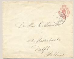 Curacao - 1927 - 10 Cent Wilhelmina, Envelop G21 Van KB CURACAO Naar Delft / Nederland - Curaçao, Nederlandse Antillen, Aruba