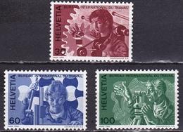 Switzerland / Schweiz / Suisse: 1975 Mensch Und Rbeit Kompletter Satz Ohne Falz B.I.d.T. Michel BIT / ILO 105 / 107 - Dienstzegels