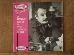 Programme Georges Brassens - Olympia 1960 - Bruno Coquatrix - Photo, Pub, Schweppes, Cognac Courvoisier, Coca Cola Biere - Programmes