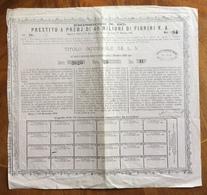 AZIONI/OBBLIGAZIONI  TITOLO INTERINALE DA L. 5 PRESTITO A PREMJ DI 40 MILIONI DI FIORINI V.A. MILANO 16/11/1870 - Old Paper