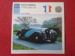 FICHA TÉCNICA DATA TECNICAL SHEET FICHE TECHNIQUE AUTO COCHE CAR VOITURE 1936 1939 HOTCHKISS TYPE 686 GS FRANCIA FRANCE - Coches