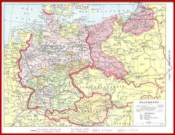 Allemagne En 1938 Et 1947. Frontières Provisoires Et Territoires Cédées Recto. Carte économique Verso. Larousse 1948 - Vieux Papiers