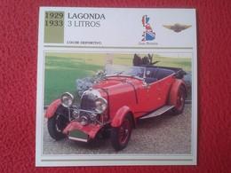 FICHA TÉCNICA DATA TECNICAL SHEET FICHE TECHNIQUE AUTO COCHE CAR VOITURE 1929 1933 LAGONDA 3 LITROS GREAT BRITAIN CARS - Coches