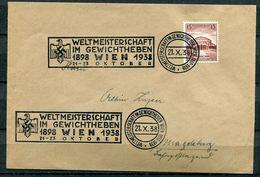 """German Empires/Österreich 1938 Belegbrief Mit Mi.Nr.668 U.gesuchten MWST""""WIEN-Weltmeisterschaft Im Gewichtheben""""1 Beleg - Deutschland"""
