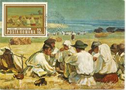 Le Repos Des Moissonneurs , Tableau Du Musée Des Beaux-Arts.  Carte-maximum - Agriculture