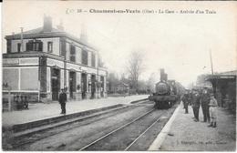 60 - CHAUMONT-EN-VEXIN - 58. La Gare - Arrivée D'un Train - Carte écrite En 1919 - Stations With Trains