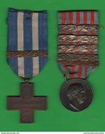 Guerra Libia + Croce Al Merito Di Guerra Con Barrette Del 1913 1914 1915 1916 1917 1918 Date Bars Libya - Italy