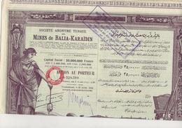 MINES DE BALIA -KARAIDIN -SOCIETE ANONYME TURQUE -1923 - Mines
