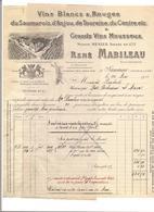 FACTURE QUITTANCE -  VINS BLANCS  ET ROUGES - MABILEAU à SAUMUR - - France