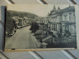 CPA 7 Spa Les Bains , Le Casino, La Place Royale Tram En Mouvement - Spa