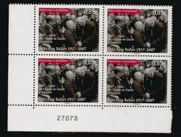 Anniversaire De La Visite Officielle Du Général De Gaulle 23 Octobre 1967 En ANDORRE. Un Bloc De Neuf ** Coin Numéroté - De Gaulle (Generaal)