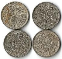 Lot 4 Pièces De Monnaie 6 Pences - 1902-1971 : Monnaies Post-Victoriennes