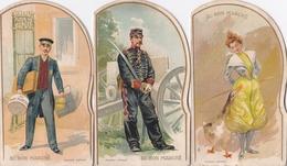 Au Bon Marché - Publicité 3 Chromos à Systèmes.Litho: Soldat Régiment D'Artillerie, La Dompteuse D'oies, Le Magasinier. - Advertising