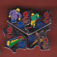 54506-lot De 4 Pin's.Puzzle.AGF.banque.assurance.jeux Olympiques Albertville... - Jeux Olympiques