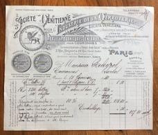 VETRERIE INDUSTRIA DEL VETRO SOCIETE' VENITIENNE SOC.VENEZIANA A PARIS  FATTURA PUBBLICITARIA DEL 15/2/1920 - France