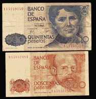 ESPAGNE  Billet De 500 Pesetas  23 10 1978  ET  Billet De 200 Pesetas  18 09 1980 - [ 4] 1975-… : Juan Carlos I