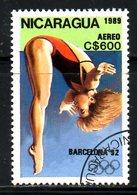 NICARAGUA. PA 1302 Oblitéré De 1989. Plongeon Aux J.O. De Barcelone. - High Diving