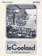 """06- BANDOL - Hôtel """"Le Goéland"""" Restaurant Cote D'Azur 1931- Dépliant Publicitaire - J.M Bourguet - Publicités"""