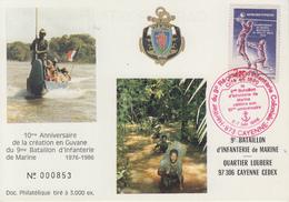 Carte  Anniversaire  9éme  Régiment  D' INFANTERIE  DE  MARINE    CAYENNE    1986 - Militaria